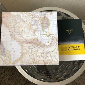 Map Travel Box Lay Flat Textured Ombré Notebook